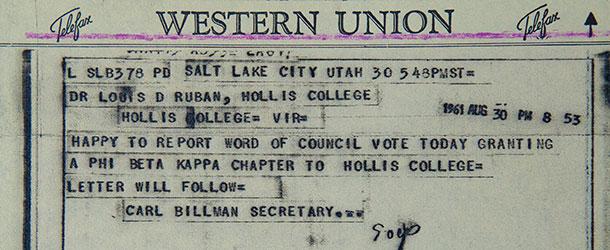 Phi Beta Kappa telegram