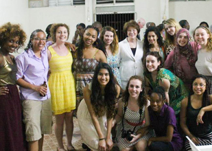 President Gray with the students who served last spring on the Jamaica service learning trip.
