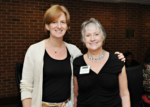 Current and past presidents of the Alumnae Board: Judy Ball Morrill '84 and Frances Leitner '73. The Alumnae Board will play a critical role in the upcoming engagement initiative.