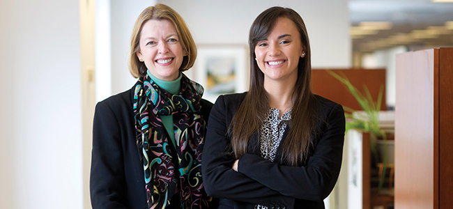 Amanda Miller '86 and Haley Ortiz '16 at John Wiley & Sons