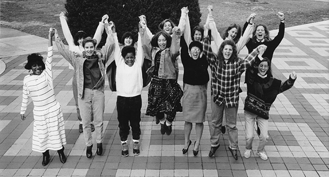 Students celebrating, 1991