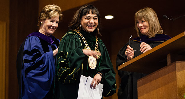 Photo of President Lawrence induction as President of Hollins