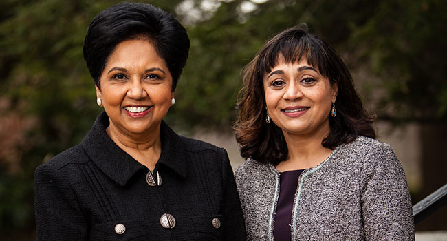 Photo of Indra Nooyi with President Lawrence