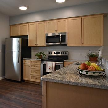Kitchen in student apartment village