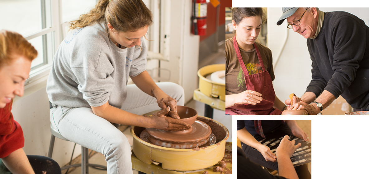 Studio art majors work one on one with faculty.