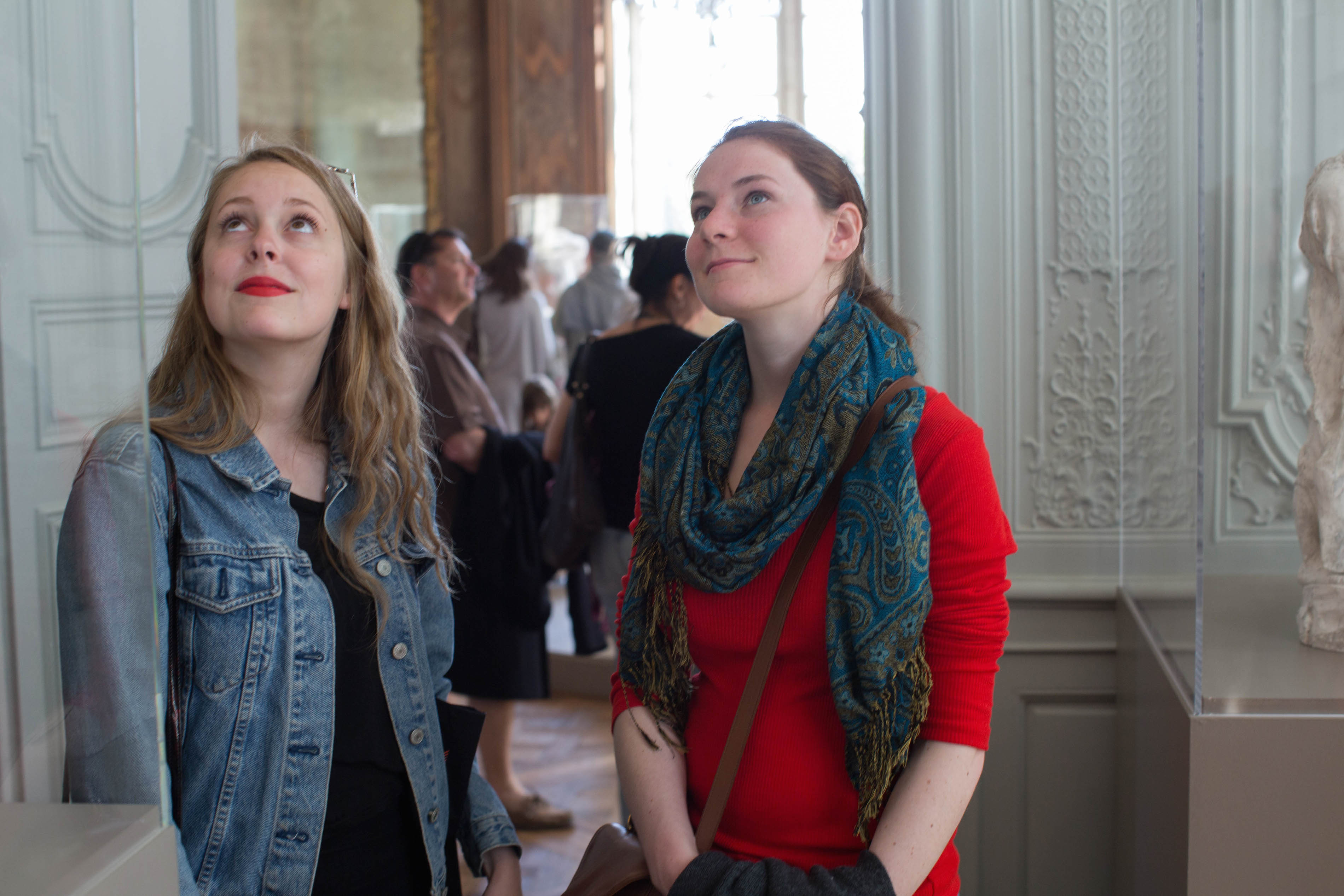 Art History majors at Hollins University contemplate a work of art on a field trip.