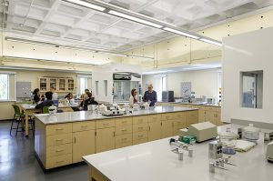 Students and professor in a lab