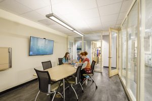 Students in conference room in Dana Science Building